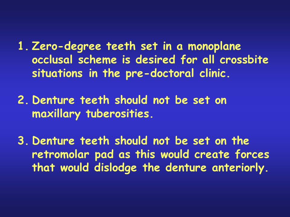 1.Zero-degree teeth set in a monoplane occlusal scheme is desired for all crossbite situations in the pre-doctoral clinic.