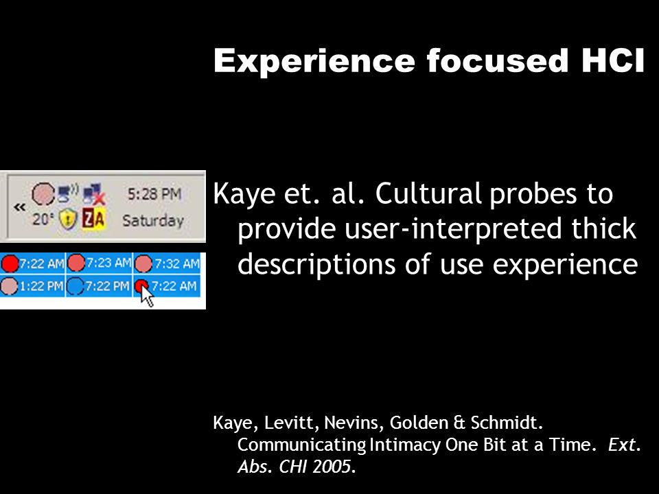 Experience focused HCI Kaye et. al. Cultural probes to provide user-interpreted thick descriptions of use experience Kaye, Levitt, Nevins, Golden & Sc