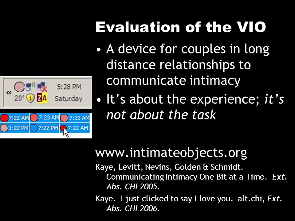 Evaluation of the VIO A device for couples in long distance relationships to communicate intimacy Its about the experience; its not about the task www.intimateobjects.org Kaye, Levitt, Nevins, Golden & Schmidt.