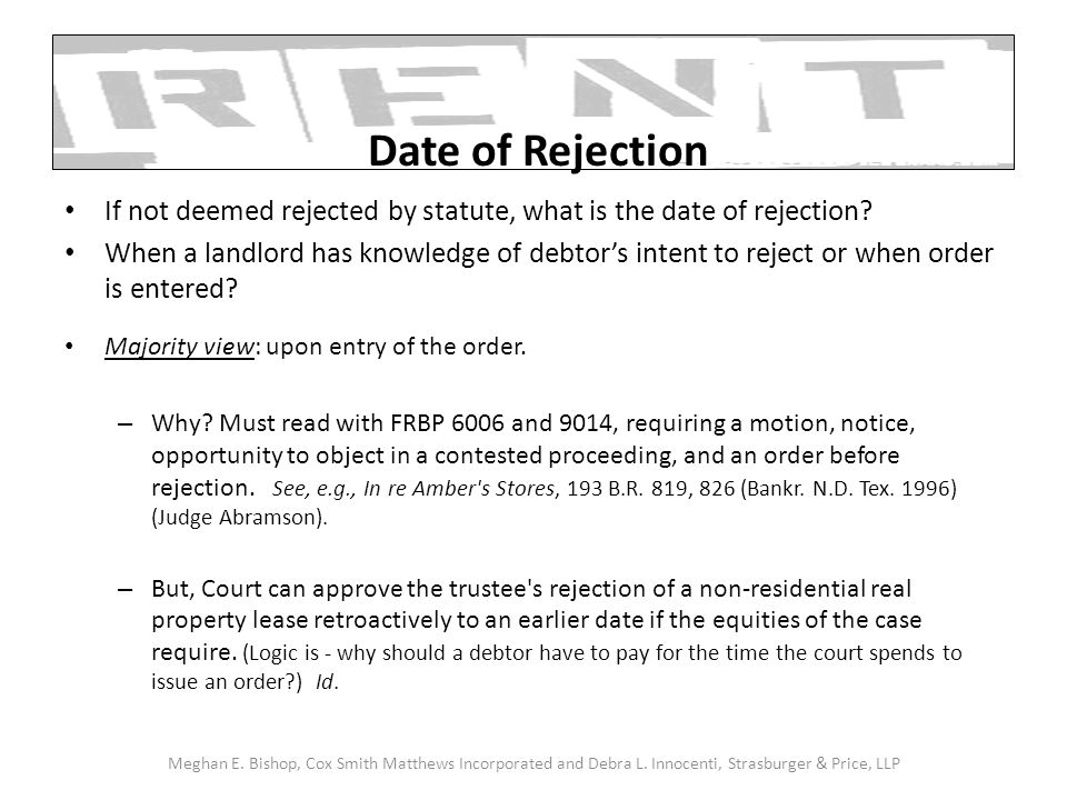 If not deemed rejected by statute, what is the date of rejection.