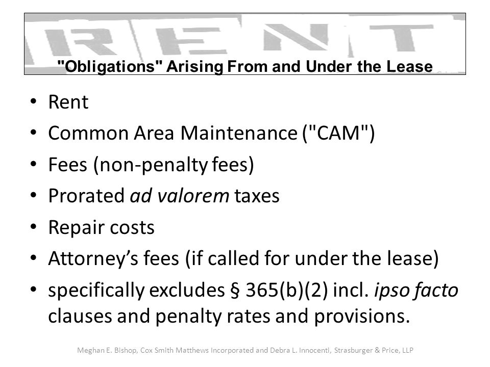 Rent Common Area Maintenance (