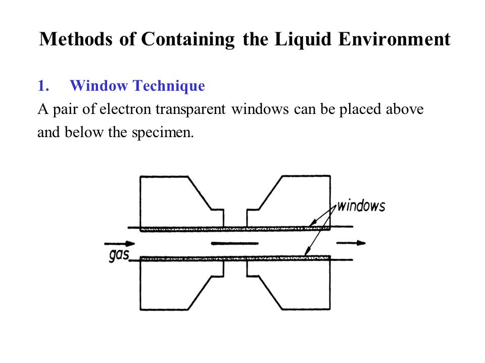 Methods of Containing the Liquid Environment 1.Window Technique A pair of electron transparent windows can be placed above and below the specimen.