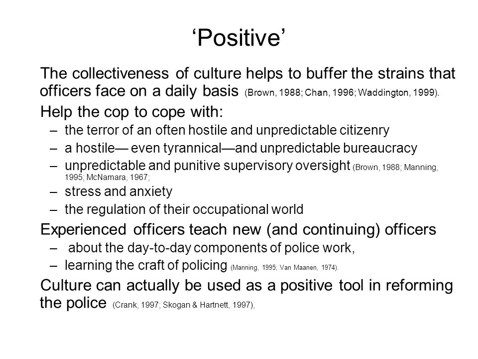 Positive The collectiveness of culture helps to buffer the strains that officers face on a daily basis (Brown, 1988; Chan, 1996; Waddington, 1999).