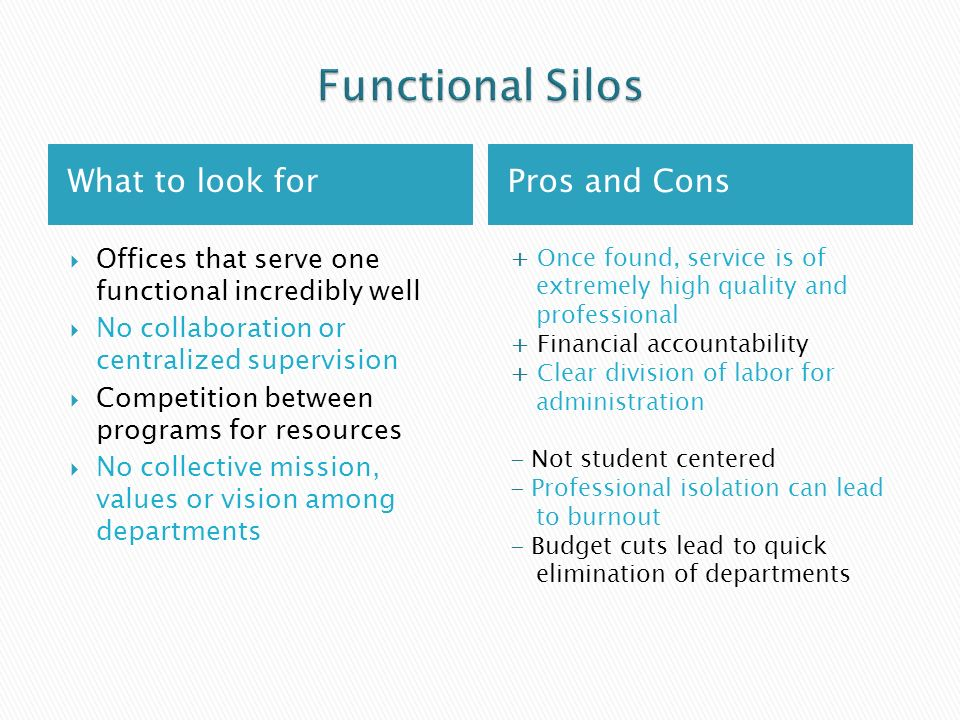 What to look forPros and Cons Offices that serve one functional incredibly well No collaboration or centralized supervision Competition between programs for resources No collective mission, values or vision among departments + Once found, service is of extremely high quality and professional + Financial accountability + Clear division of labor for administration - Not student centered - Professional isolation can lead to burnout - Budget cuts lead to quick elimination of departments