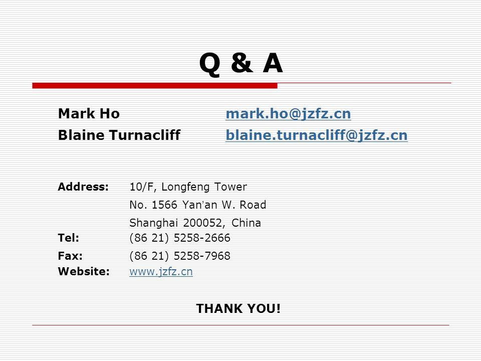 Mark Homark.ho@jzfz.cnmark.ho@jzfz.cn Blaine Turnacliffblaine.turnacliff@jzfz.cnblaine.turnacliff@jzfz.cn Address: 10/F, Longfeng Tower No. 1566 Yan a