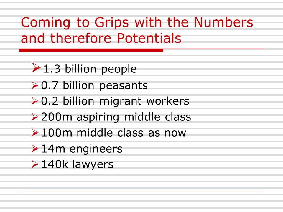 Coming to Grips with the Numbers and therefore Potentials 1.3 billion people 0.7 billion peasants 0.2 billion migrant workers 200m aspiring middle cla