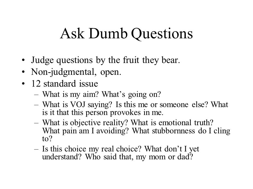 Ask Dumb Questions Judge questions by the fruit they bear. Non-judgmental, open. 12 standard issue –What is my aim? Whats going on? –What is VOJ sayin