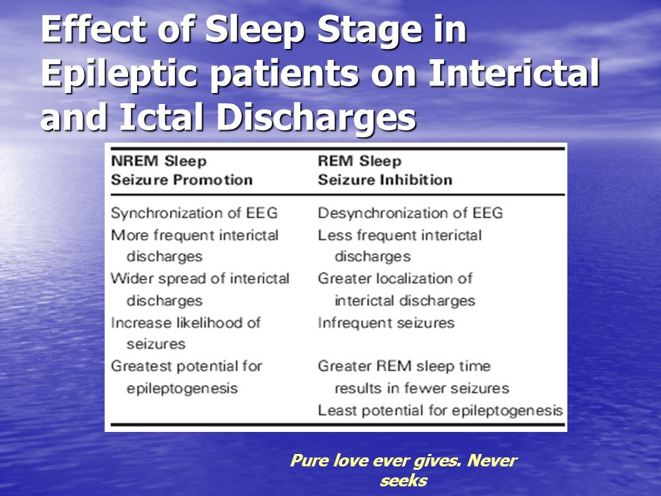 Effect of Sleep Stage in Epileptic patients on Interictal and Ictal Discharges Pure love ever gives. Never seeks