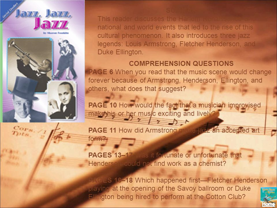 SUMMARY This reader discusses the Harlem Renaissance and the national and world events that led to the rise of this cultural phenomenon. It also intro