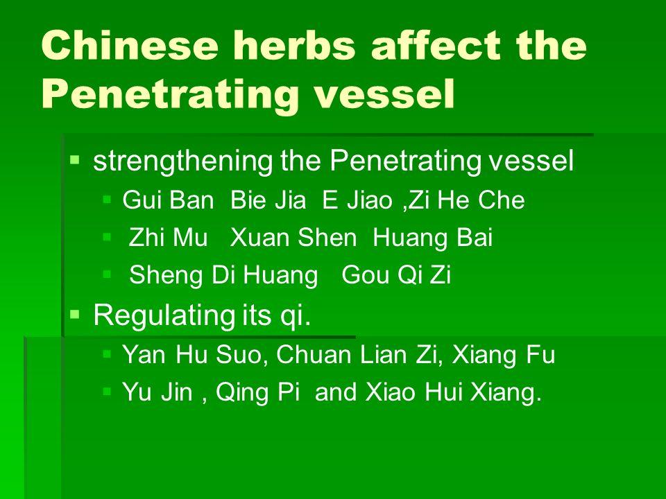 Chinese herbs affect the Penetrating vessel strengthening the Penetrating vessel Gui Ban Bie Jia E Jiao,Zi He Che Zhi Mu Xuan Shen Huang Bai Sheng Di