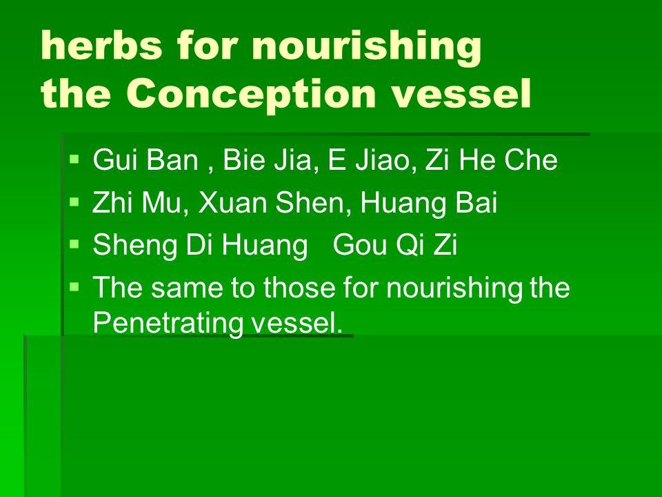 herbs for nourishing the Conception vessel Gui Ban, Bie Jia, E Jiao, Zi He Che Zhi Mu, Xuan Shen, Huang Bai Sheng Di Huang Gou Qi Zi The same to those
