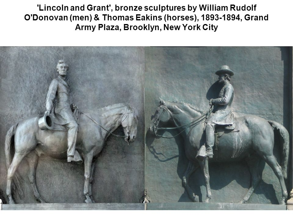 'Lincoln and Grant', bronze sculptures by William Rudolf O'Donovan (men) & Thomas Eakins (horses), 1893-1894, Grand Army Plaza, Brooklyn, New York Cit