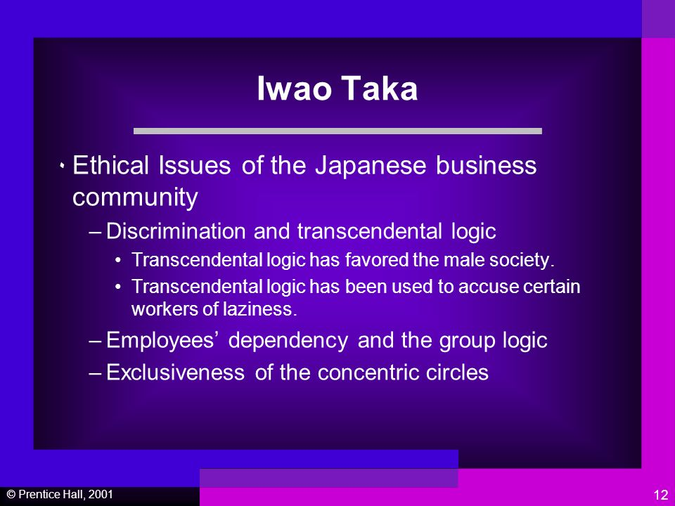 © Prentice Hall, Iwao Taka ٠ Ethical Issues of the Japanese business community –Discrimination and transcendental logic Transcendental logic has favored the male society.