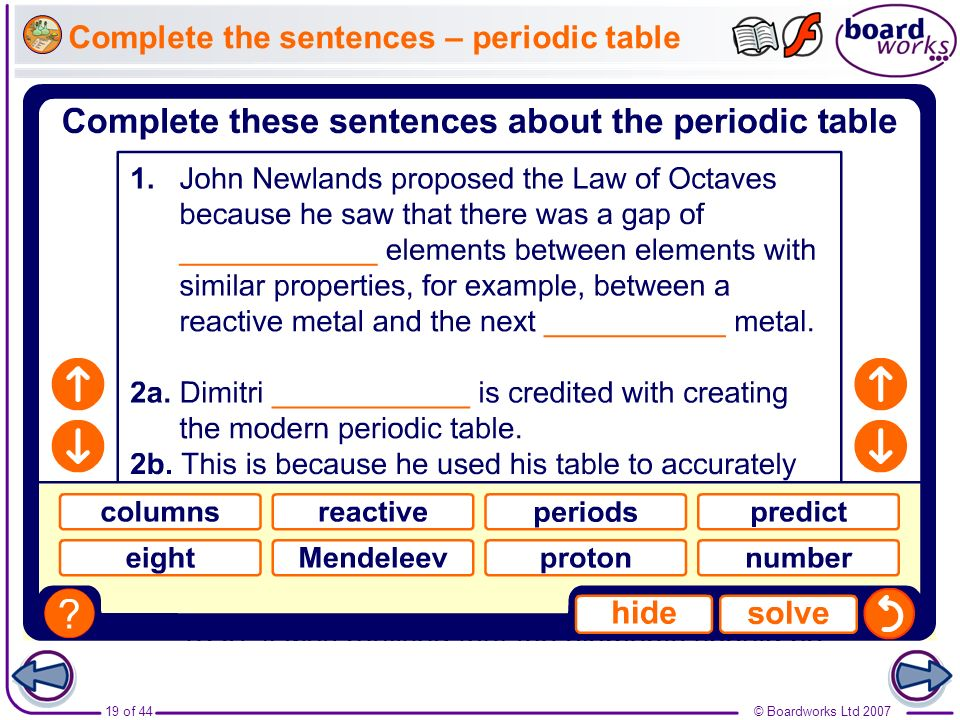 © Boardworks Ltd 200719 of 44 Complete the sentences – periodic table