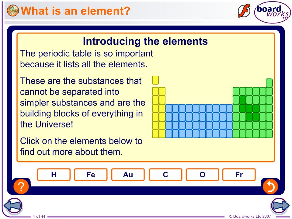 © Boardworks Ltd 20074 of 44 What is an element?