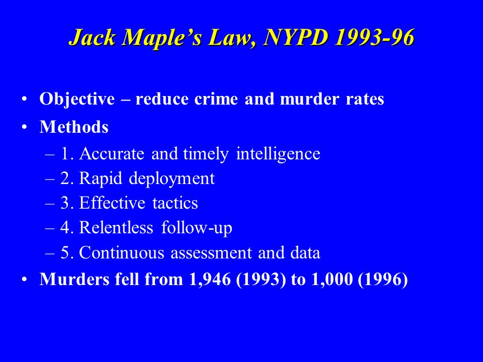 Jack Maples Law, NYPD 1993-96 Objective – reduce crime and murder rates Methods –1. Accurate and timely intelligence –2. Rapid deployment –3. Effectiv