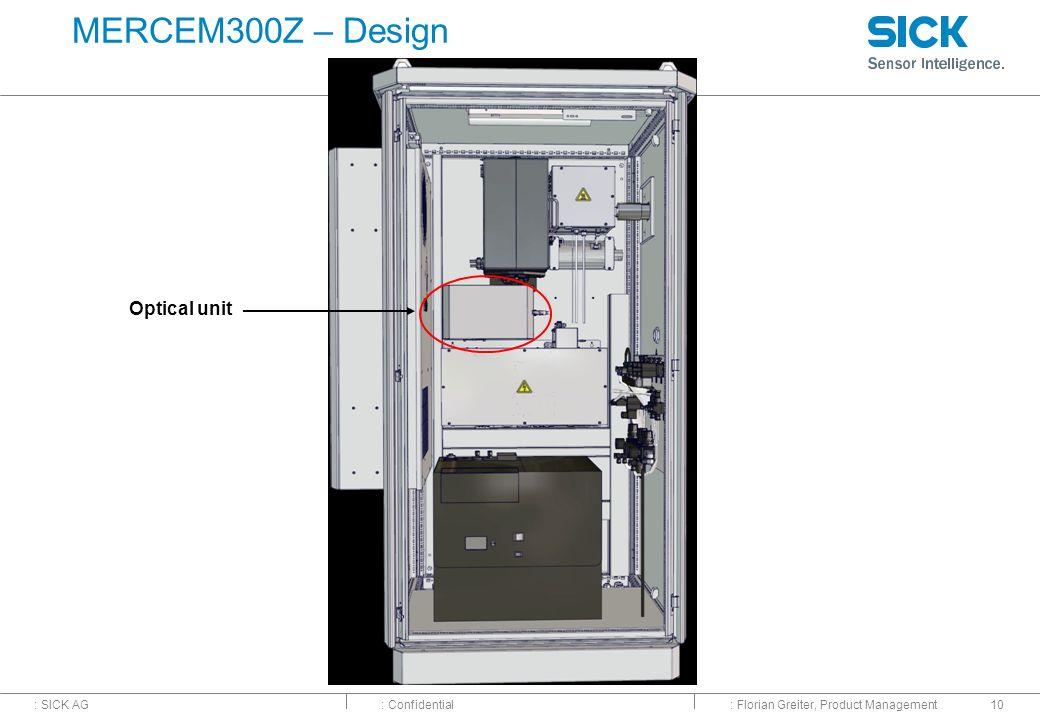 : SICK AG: Confidential: Florian Greiter, Product Management10 MERCEM300Z – Design Optical unit