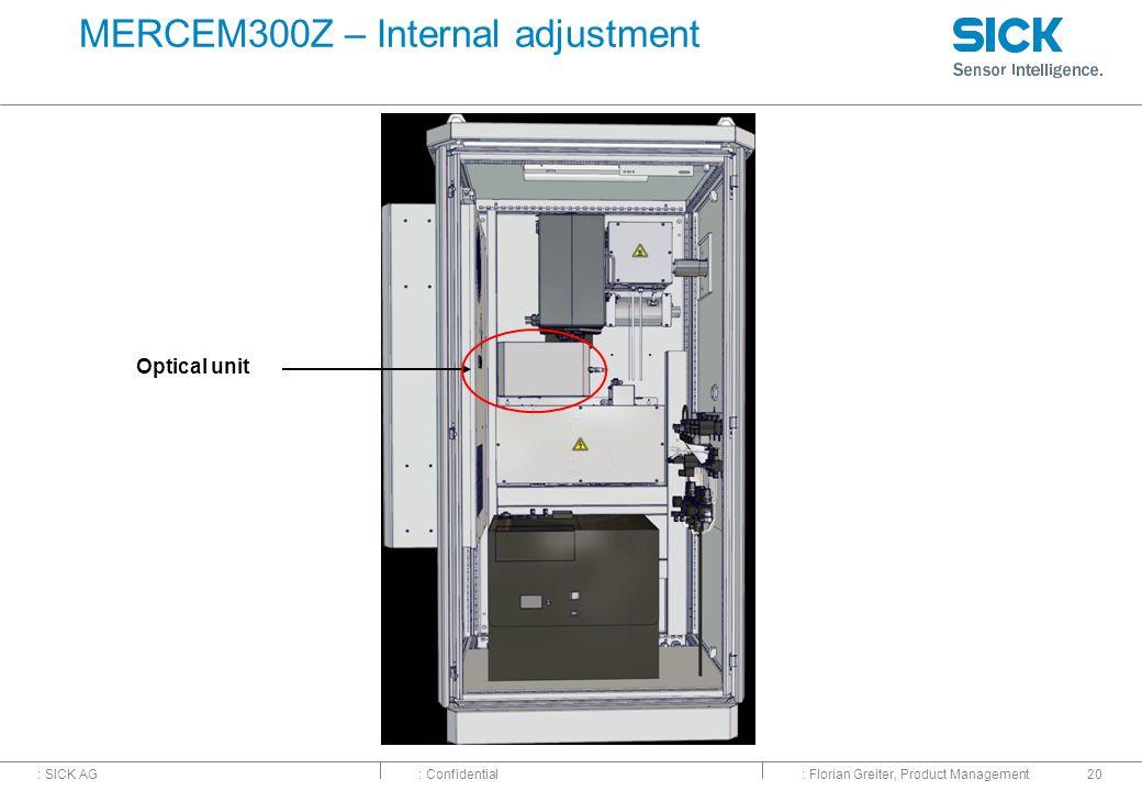 : SICK AG: Confidential: Florian Greiter, Product Management20 MERCEM300Z – Internal adjustment Optical unit