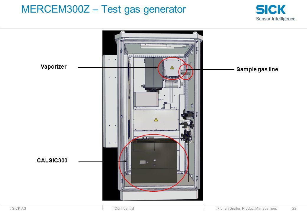 : SICK AG: Confidential: Florian Greiter, Product Management22 MERCEM300Z – Test gas generator CALSIC300 Vaporizer Sample gas line