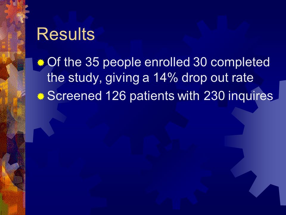 Results Of the 35 people enrolled 30 completed the study, giving a 14% drop out rate Screened 126 patients with 230 inquires