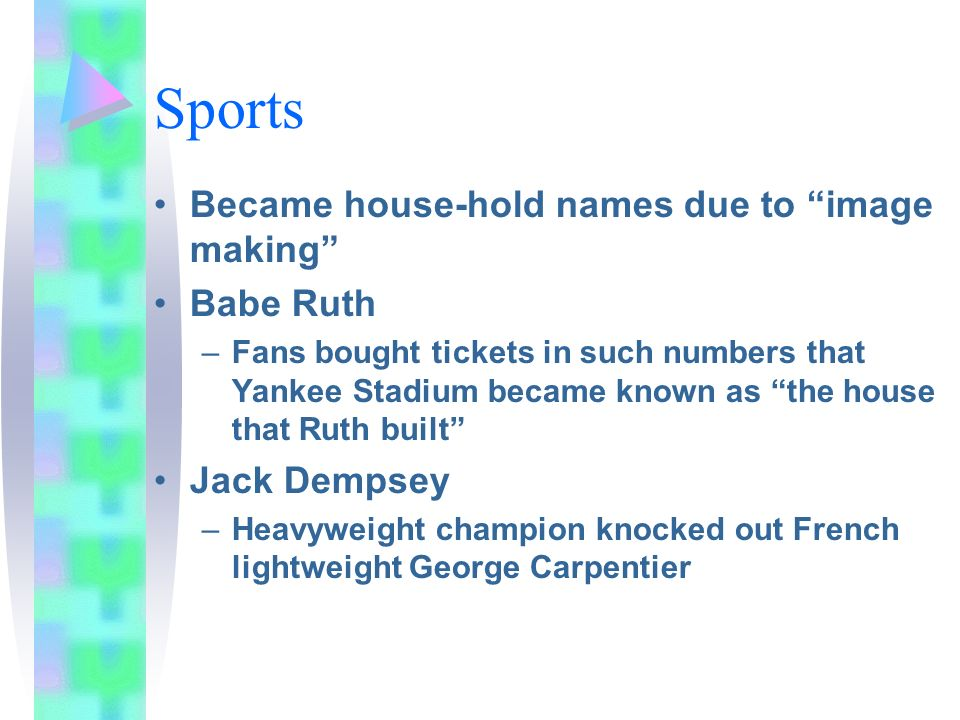 Sports Became house-hold names due to image making Babe Ruth –Fans bought tickets in such numbers that Yankee Stadium became known as the house that R
