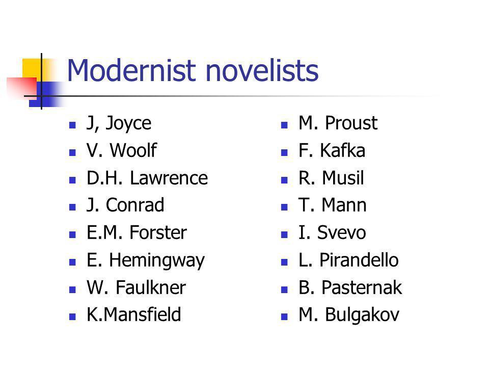 Modernist novelists J, Joyce V. Woolf D.H. Lawrence J. Conrad E.M. Forster E. Hemingway W. Faulkner K.Mansfield M. Proust F. Kafka R. Musil T. Mann I.