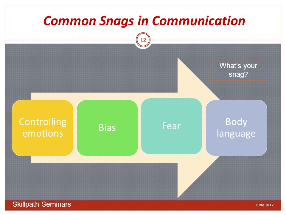 Common Snags in Communication Controlling emotions BiasFear Body language Whats your snag.