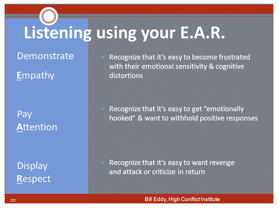 Listening using your E.A.R.