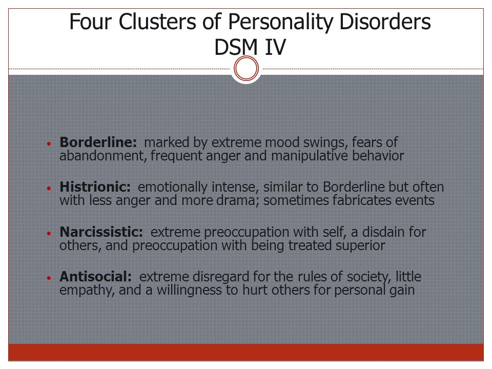 Four Clusters of Personality Disorders DSM IV Borderline: marked by extreme mood swings, fears of abandonment, frequent anger and manipulative behavior Histrionic: emotionally intense, similar to Borderline but often with less anger and more drama; sometimes fabricates events Narcissistic: extreme preoccupation with self, a disdain for others, and preoccupation with being treated superior Antisocial: extreme disregard for the rules of society, little empathy, and a willingness to hurt others for personal gain