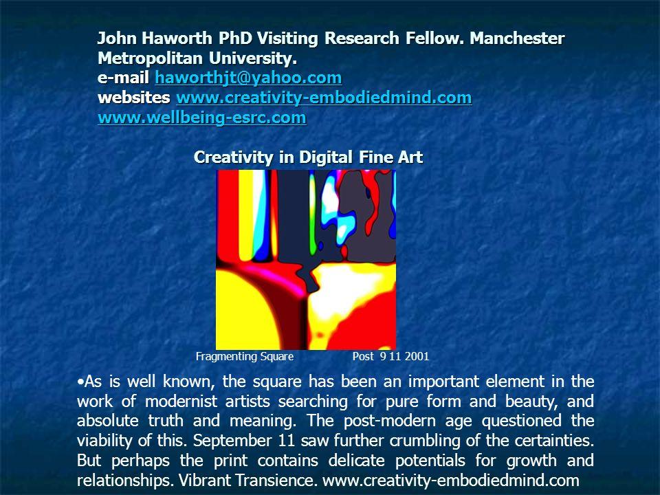 John Haworth PhD Visiting Research Fellow. Manchester Metropolitan University. e-mail haworthjt@yahoo.com websites www.creativity-embodiedmind.com www