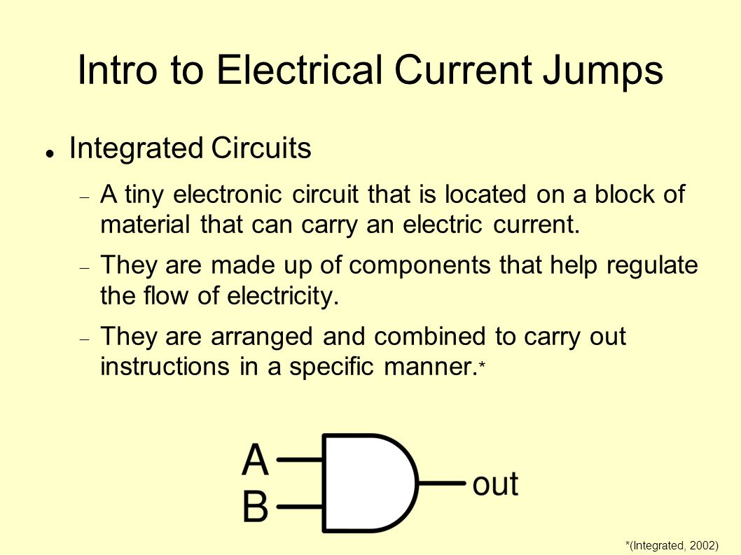 Intro to Electrical Current Jumps Integrated Circuits A tiny electronic circuit that is located on a block of material that can carry an electric curr