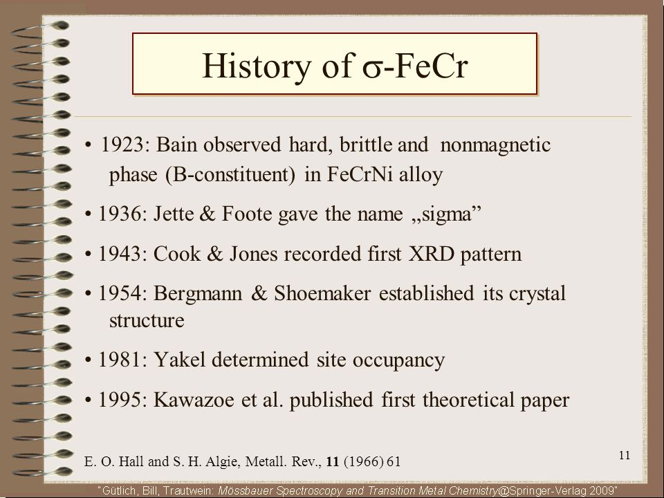 11 History of -FeCr 1923: Bain observed hard, brittle and nonmagnetic phase (B-constituent) in FeCrNi alloy 1936: Jette & Foote gave the name sigma 19