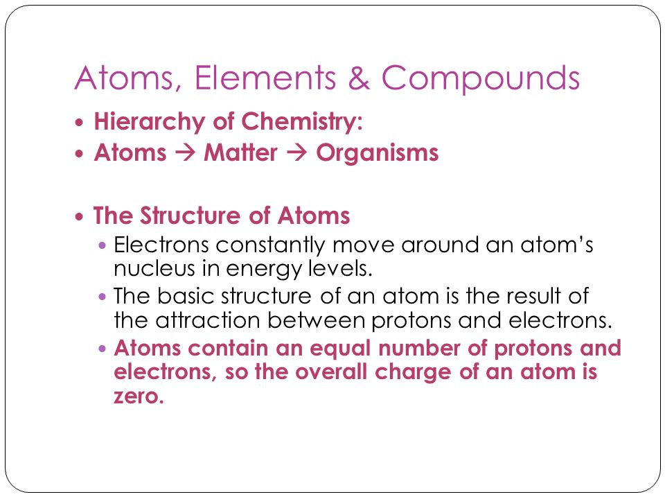 Atoms, Elements & Compounds Hierarchy of Chemistry: Atoms Matter Organisms The Structure of Atoms Electrons constantly move around an atoms nucleus in