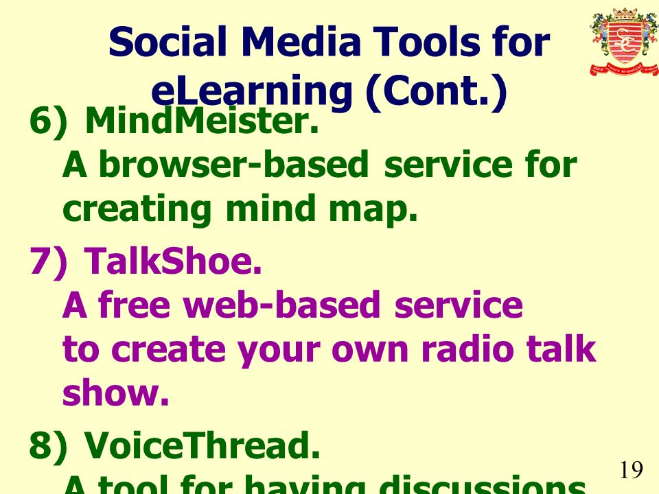 19 6)MindMeister. A browser-based service for creating mind map. 7)TalkShoe. A free web-based service to create your own radio talk show. 8)VoiceThrea