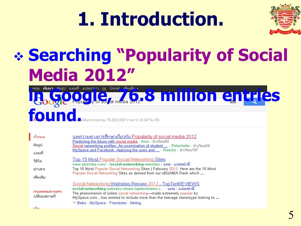 5 1. Introduction. Searching Popularity of Social Media 2012 in Google, 76.8 million entries found.
