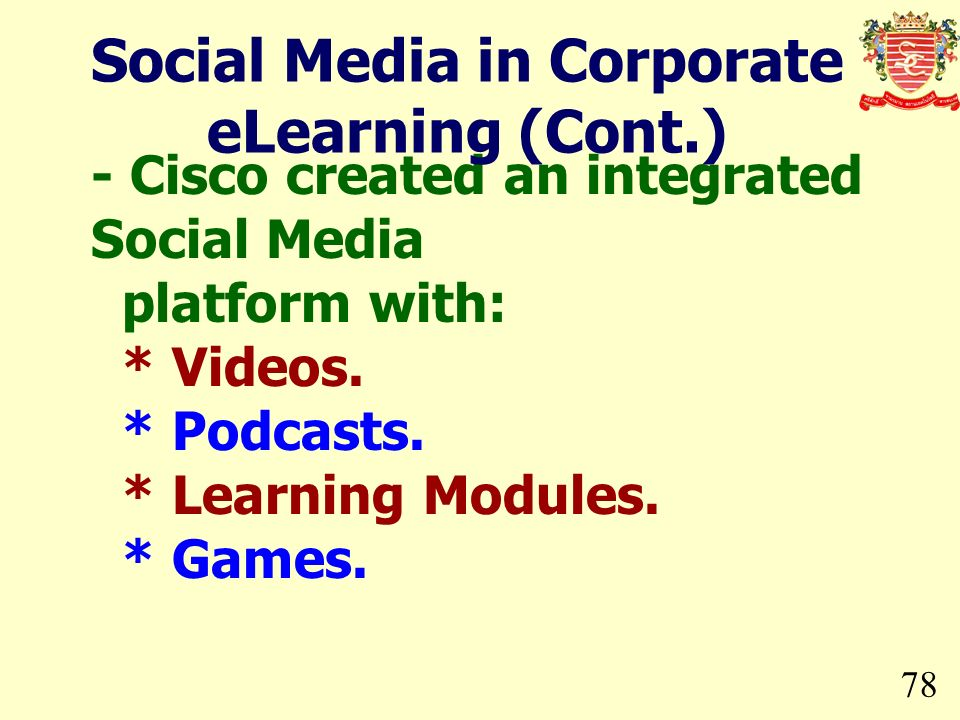 78 - Cisco created an integrated Social Media platform with: * Videos. * Podcasts. * Learning Modules. * Games. Social Media in Corporate eLearning (C