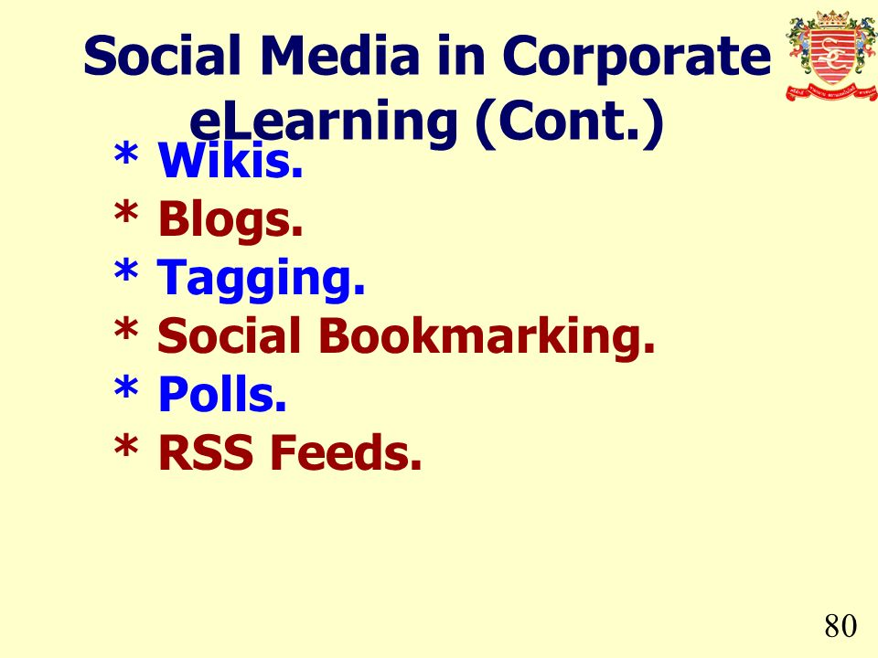 80 * Wikis. * Blogs. * Tagging. * Social Bookmarking. * Polls. * RSS Feeds. Social Media in Corporate eLearning (Cont.)