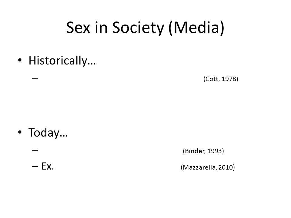 Sex in Society (Media) Historically… – (Cott, 1978) Today… – (Binder, 1993) – Ex. (Mazzarella, 2010)