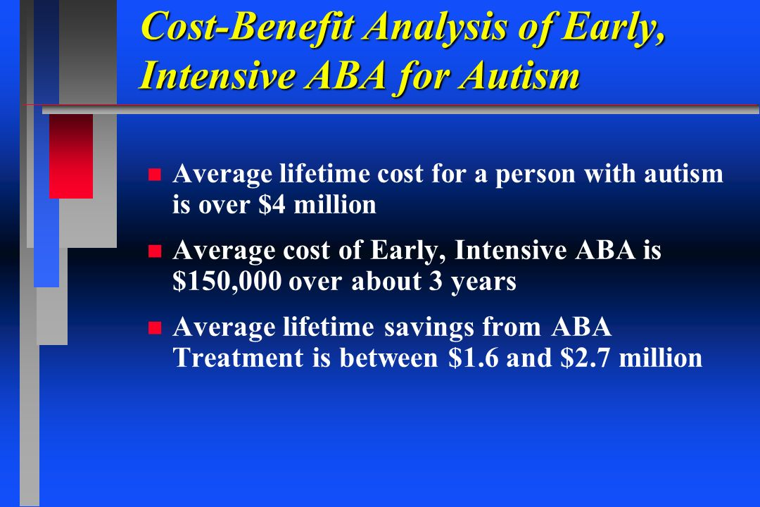Cost-Benefit Analysis of Early, Intensive ABA for Autism n n Average lifetime cost for a person with autism is over $4 million n n Average cost of Ear