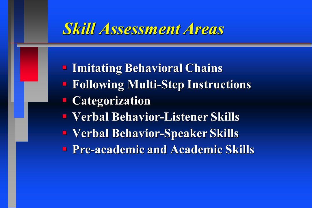 Skill Assessment Areas Imitating Behavioral Chains Imitating Behavioral Chains Following Multi-Step Instructions Following Multi-Step Instructions Cat