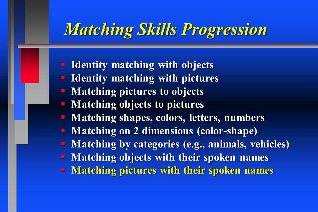 Matching Skills Progression Identity matching with objects Identity matching with objects Identity matching with pictures Identity matching with pictu