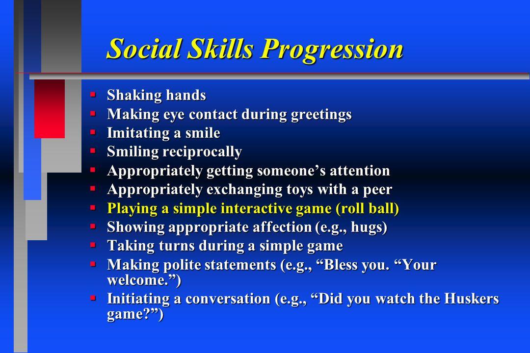 Social Skills Progression Shaking hands Shaking hands Making eye contact during greetings Making eye contact during greetings Imitating a smile Imitat