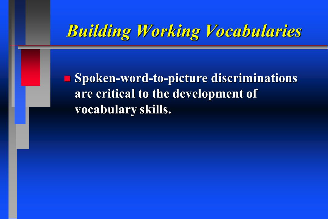 Building Working Vocabularies Building Working Vocabularies n Spoken-word-to-picture discriminations are critical to the development of vocabulary ski