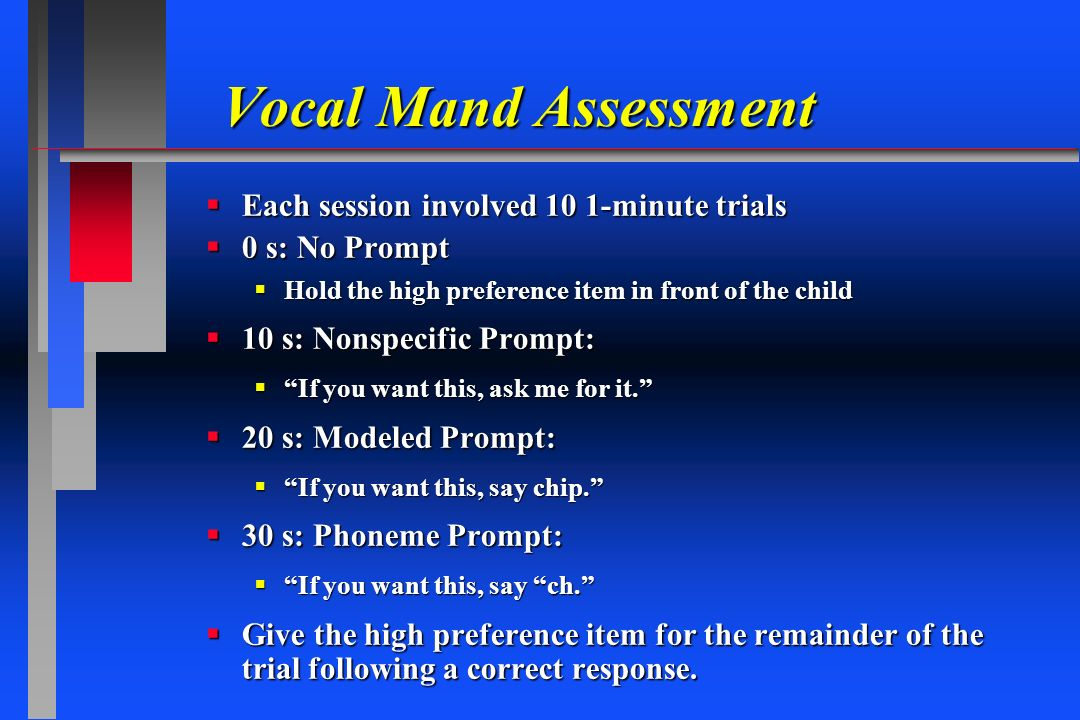 Vocal Mand Assessment Each session involved 10 1-minute trials Each session involved 10 1-minute trials 0 s: No Prompt 0 s: No Prompt Hold the high pr