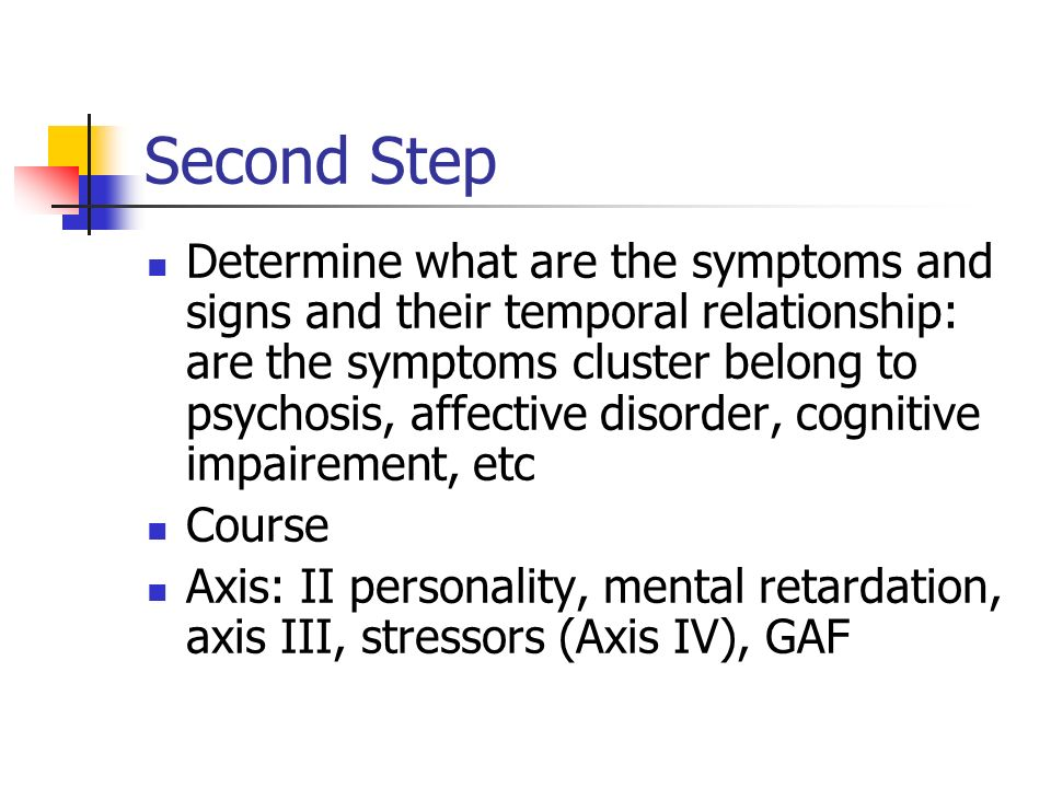 Second Step Determine what are the symptoms and signs and their temporal relationship: are the symptoms cluster belong to psychosis, affective disorde