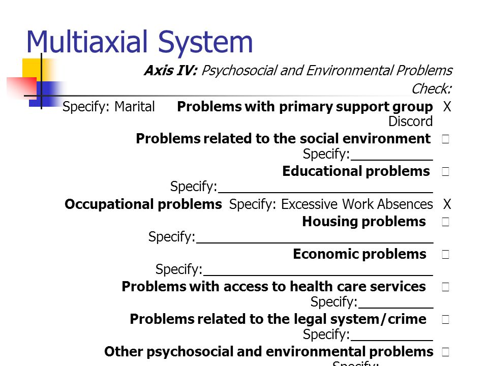 Multiaxial System Axis IV: Psychosocial and Environmental Problems Check: XProblems with primary support groupSpecify: Marital Discord  Problems rela