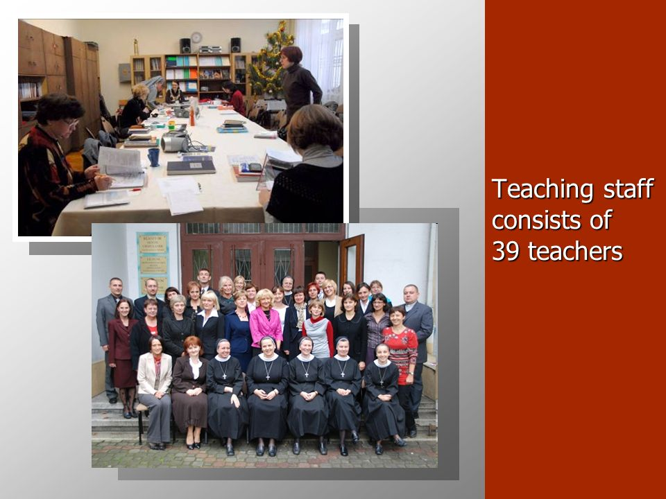 Teaching staff consists of 39 teachers