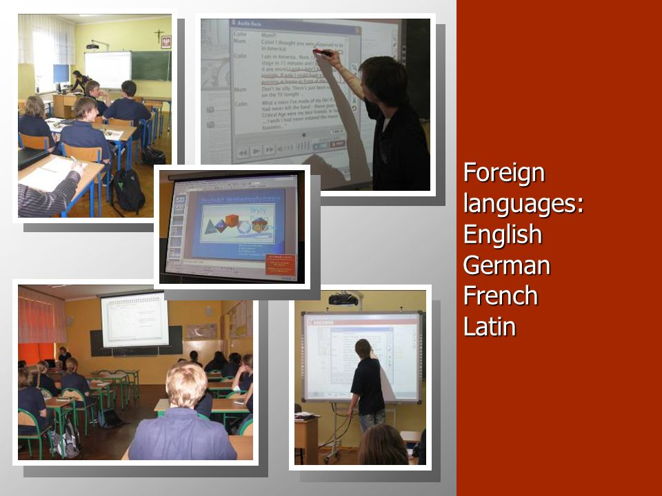 Foreign languages: English German French Latin