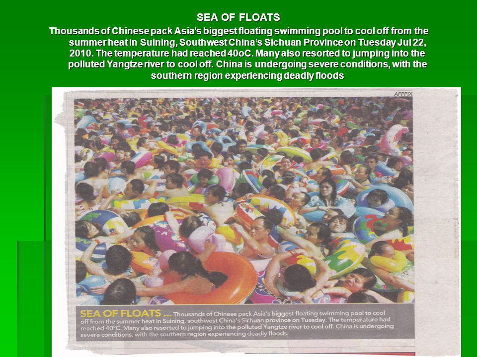 SEA OF FLOATS Thousands of Chinese pack Asias biggest floating swimming pool to cool off from the summer heat in Suining, Southwest Chinas Sichuan Pro