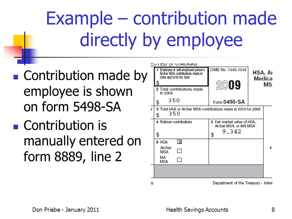Don Priebe - January 2011Health Savings Accounts8 Example – contribution made directly by employee Contribution made by employee is shown on form 5498-SA Contribution is manually entered on form 8889, line 2